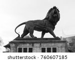 a statue of a lion in forbury... | Shutterstock . vector #760607185
