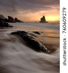 Small photo of The Strange Rock , Adraga beach, Sintra, Portugal