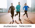 friends fitness training... | Shutterstock . vector #760611004