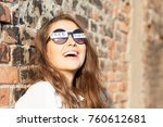 young woman with freedom sign... | Shutterstock . vector #760612681
