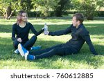 young happy sporty couple... | Shutterstock . vector #760612885