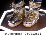 fashion moon boots. trendy shoes | Shutterstock . vector #760613611