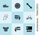 set of 9 training filled icons... | Shutterstock .eps vector #760615021