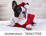 french bulldog in santa costume ... | Shutterstock . vector #760617535