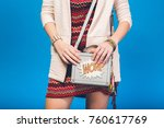 young beautiful stylish woman ... | Shutterstock . vector #760617769