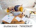 female freelancer in her casual ... | Shutterstock . vector #760620637