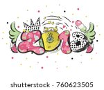 2018 new year slogan with pop... | Shutterstock .eps vector #760623505