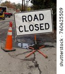 road closed sign | Shutterstock . vector #760625509