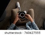 drinking some coffee in a... | Shutterstock . vector #760627555