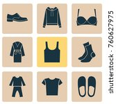 clothes icons set with pullover ... | Shutterstock .eps vector #760627975
