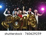 office christmas party. group... | Shutterstock . vector #760629259