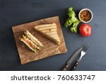 two halves of a sandwich on... | Shutterstock . vector #760633747