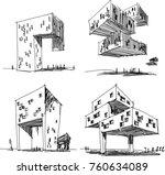 four hand drawn... | Shutterstock .eps vector #760634089