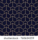Abstract geometric pattern with lines. A seamless vector background. Blue black and gold texture | Shutterstock vector #760634359