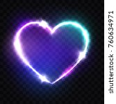 night club neon heart sign. 3d... | Shutterstock .eps vector #760634971