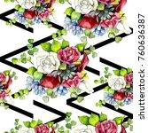 bouquet flowers pattern in a... | Shutterstock . vector #760636387