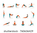 young girl practicing yoga  set ... | Shutterstock . vector #760636429