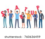 young people holding red...   Shutterstock . vector #760636459