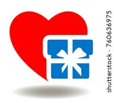 red heart gift box icon vector. ... | Shutterstock .eps vector #760636975
