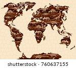 dinosaur fossils  eggs  bones   ... | Shutterstock .eps vector #760637155