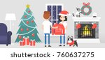 merry christmas. a couple of... | Shutterstock .eps vector #760637275
