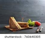 two halves of a sandwich on... | Shutterstock . vector #760640305