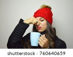 young woman with winter clothes ... | Shutterstock . vector #760640659