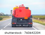 gasoline tanker is moving on a... | Shutterstock . vector #760642204