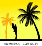 mother carrying a child... | Shutterstock .eps vector #760643314