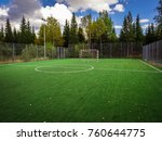 soccer field with green grass... | Shutterstock . vector #760644775