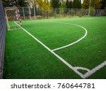 soccer field with green grass... | Shutterstock . vector #760644781
