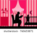 granddad reads the story of his ... | Shutterstock .eps vector #760653871