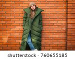 young stylish woman in a green... | Shutterstock . vector #760655185