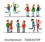 people and christmas season.... | Shutterstock .eps vector #760656709