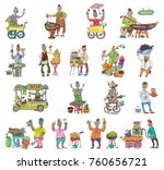indian street food linked set.... | Shutterstock .eps vector #760656721