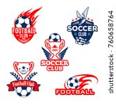 football sport club badge and... | Shutterstock .eps vector #760658764