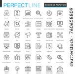 business analytics thin line... | Shutterstock . vector #760658809