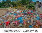 Small photo of KATHMANDU, NEPAL OCTOBER 15, 2017: Food and pile of domestic garbage in landfill. Only 35 of population have access to adequate sanitation.