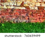 stone wall texture with green... | Shutterstock . vector #760659499
