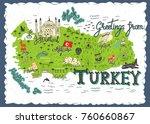 interesting map of turkey.... | Shutterstock .eps vector #760660867