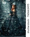 winter portrait of a beautiful ... | Shutterstock . vector #760663495