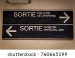 exit sign for paris train... | Shutterstock . vector #760665199