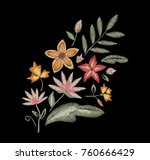 embroidered flowers. design... | Shutterstock .eps vector #760666429