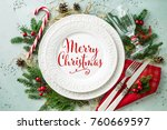 elegant christmas table setting ... | Shutterstock . vector #760669597
