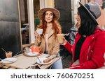 romantic ginger girl have lunch ... | Shutterstock . vector #760670251