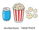striped popcorn bucket box and... | Shutterstock .eps vector #760675429