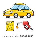 yellow sports car  fuel pump... | Shutterstock .eps vector #760675435