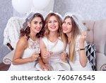 happy girls having fun drinking ... | Shutterstock . vector #760676545