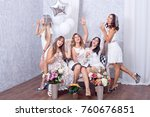 happy girls having fun drinking ... | Shutterstock . vector #760676851