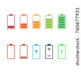 battery icon set. vector... | Shutterstock .eps vector #760677931